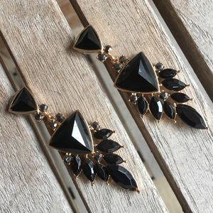 Amazing Black Stone & Gold Pierced Earrings
